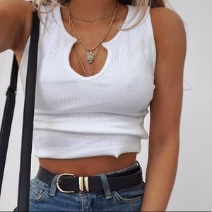 Tops - Ribbed white crop tank top